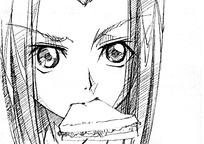 手绘卡通人物之美女吃东西
