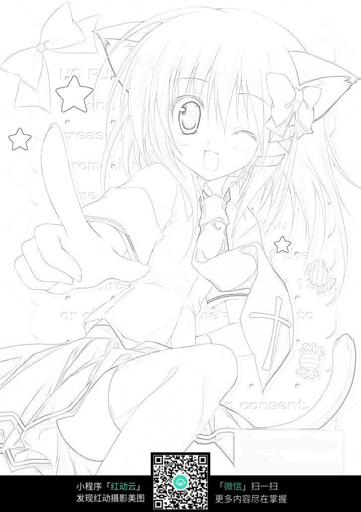 线描猫人漫画_人物卡通图片