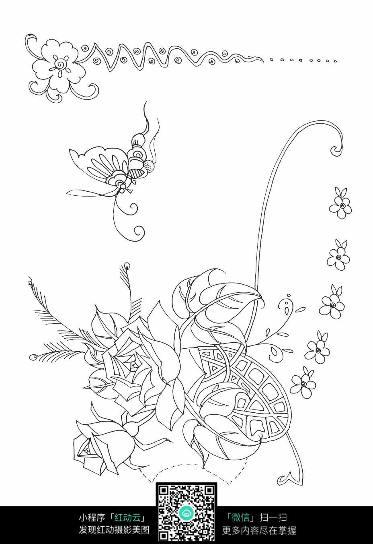 月季花装饰图案素材