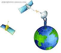 站在地球上举发射器的男士商务背景画