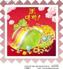 中式花纹背景金银珠宝韩文背景画