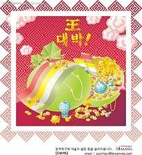 中式花纹背景珠宝首饰韩文背景画