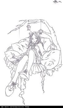 坐在床上伤心的女孩