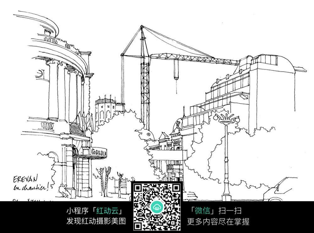 城市手绘线描素材