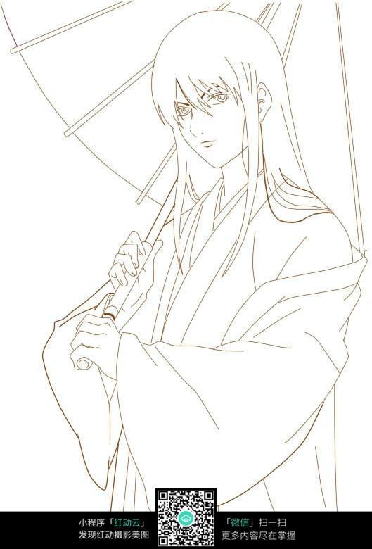 打着伞的古代男孩