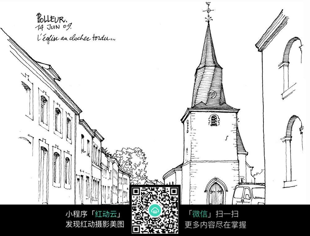 东京街头卡通手绘线描