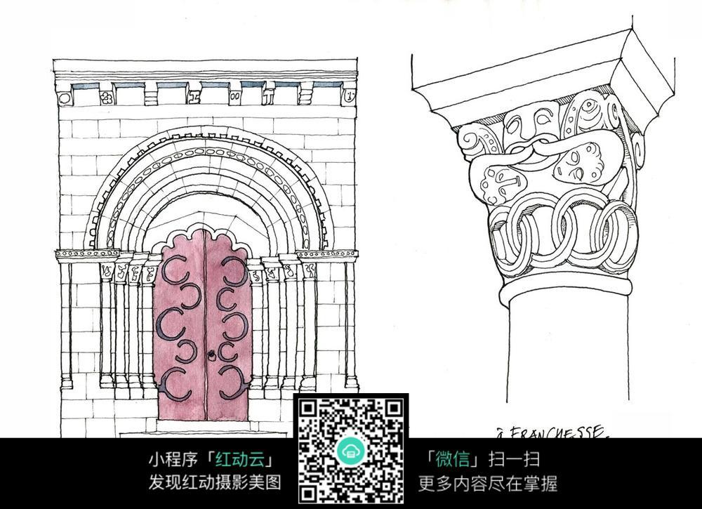 古典建筑手绘漫画图片