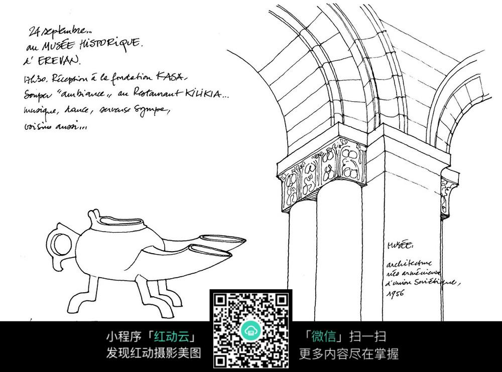 古典文物手绘线描