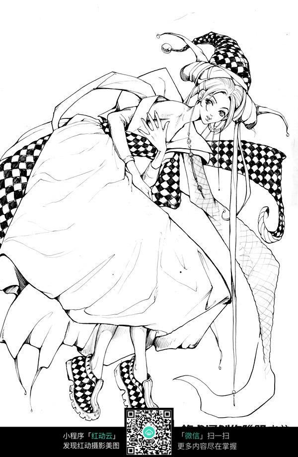卡通带巫师帽的女孩