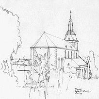 城堡教堂手绘线描图片