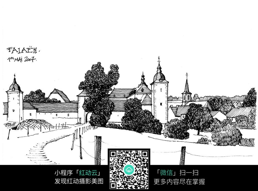 城市公园手绘图片