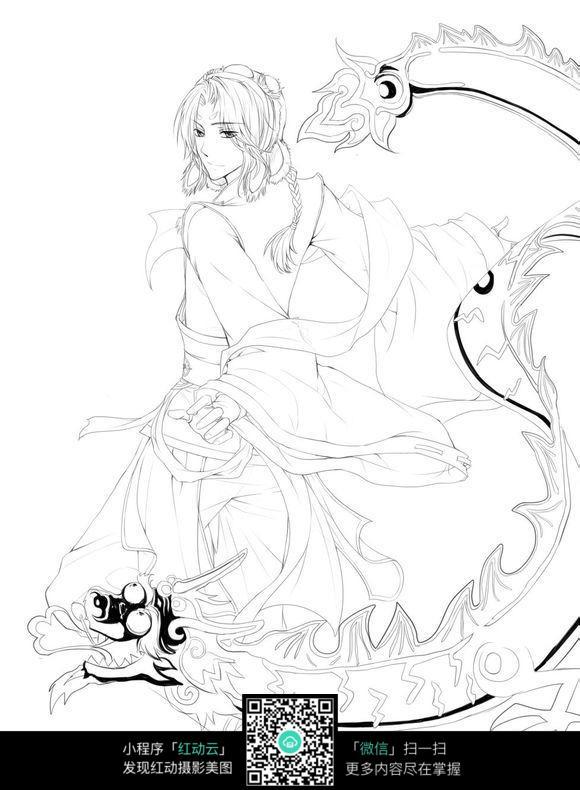 乘着龙的女孩手绘线描