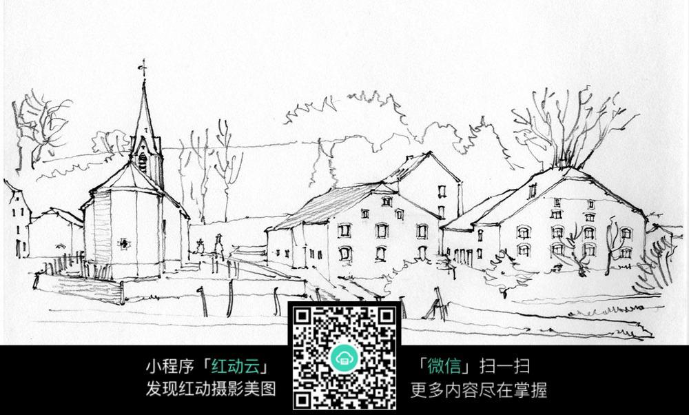 村落房屋手绘图片
