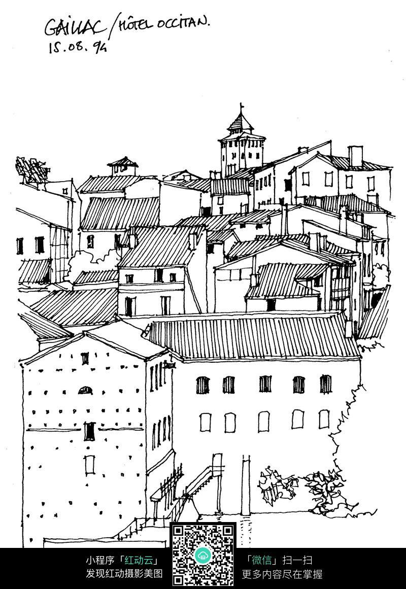 村落建筑房屋手绘