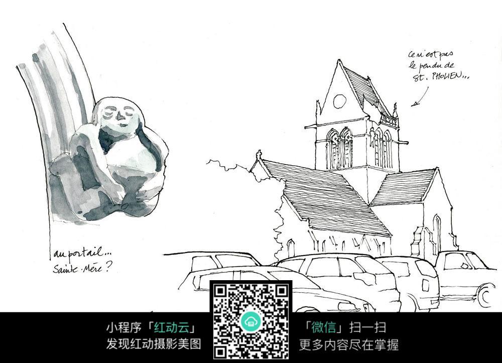 中国古建筑手绘写生_活动场景图片_红动手机版