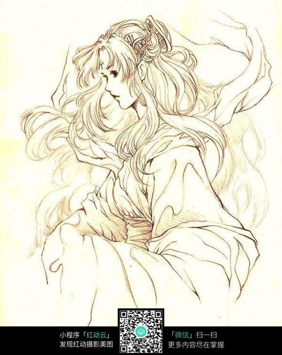 风中的女子手绘线描_人物卡通图片