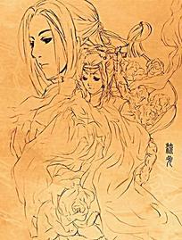 古代情侣男女手绘