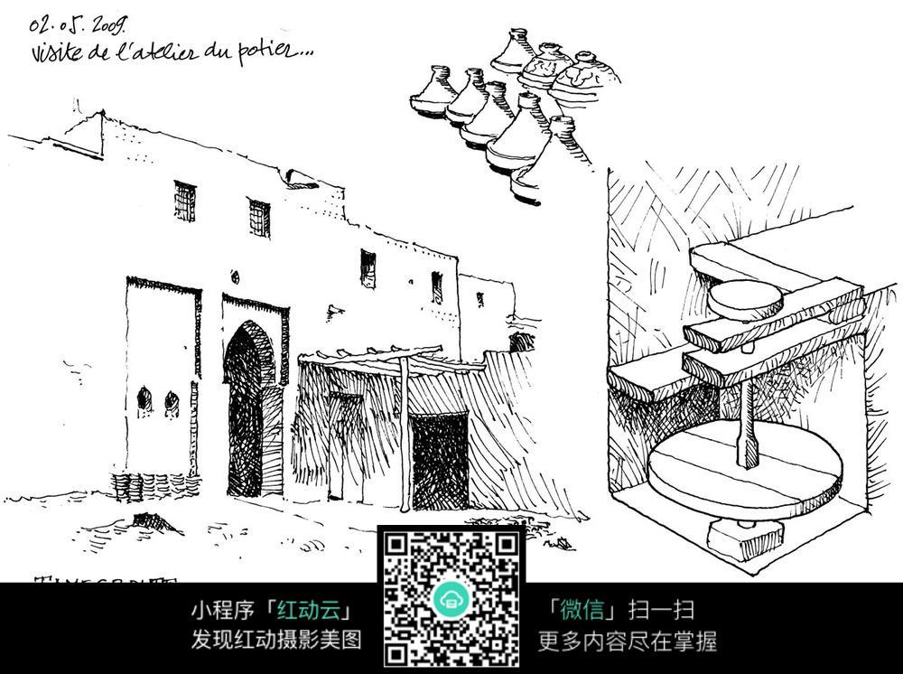 古代石磨坊建筑手绘