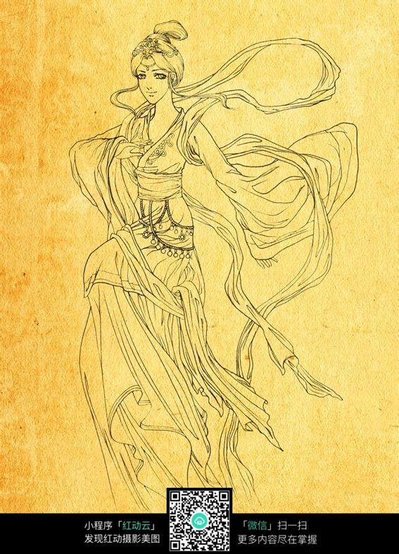 古代动漫人物线描_