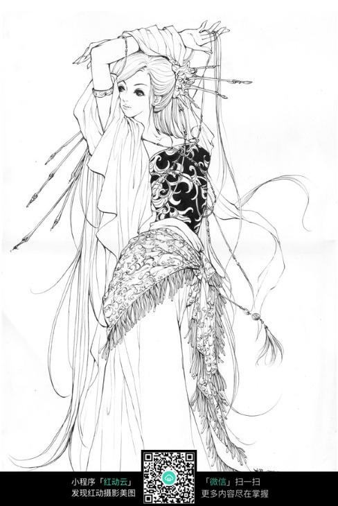 古典长发美女手绘线稿