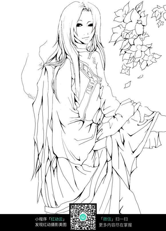 古典村姑美女人物手绘线描