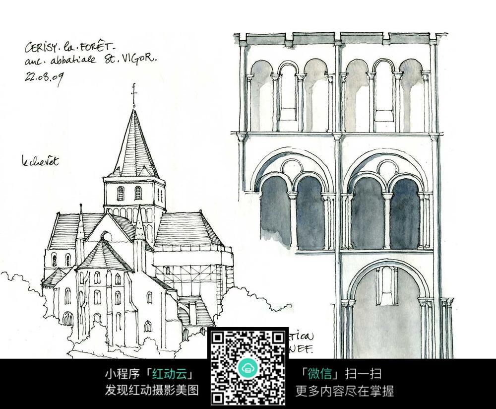 古典建筑物手绘线描
