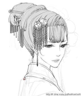 古典美女头像盘发线描