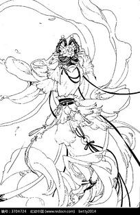 古代动漫人物线描_古典游戏剧中人物线描卡通人物图片动漫人物
