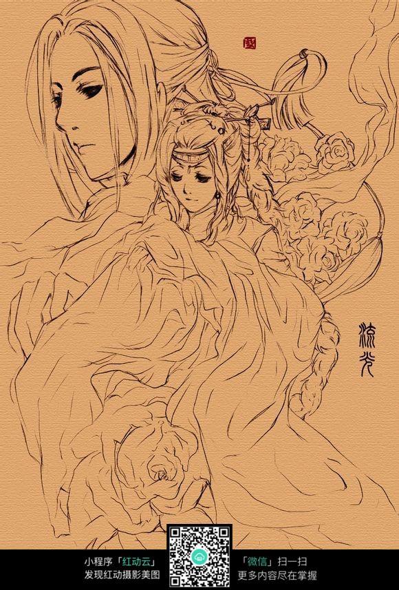古典人物手绘情侣图片