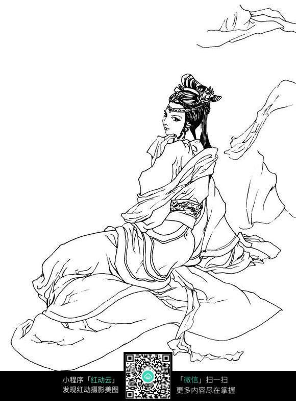 古典山水人物手绘