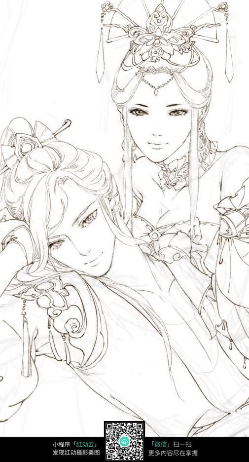 古典手绘情侣上色素材图片