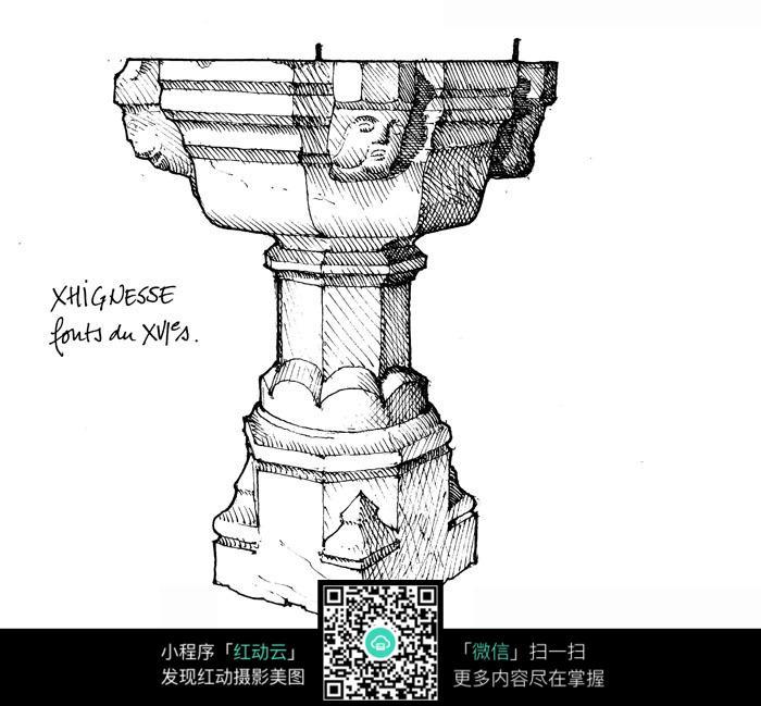 古典文物建筑手绘线描