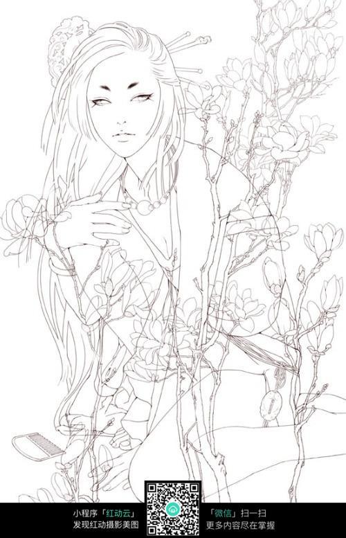 古装柔弱女子手绘线描图片
