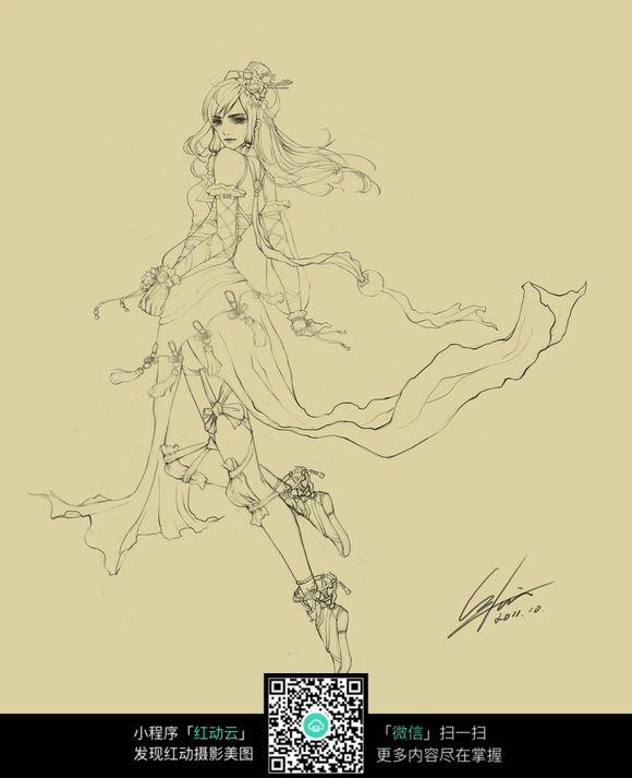 古装游戏美女线描图片