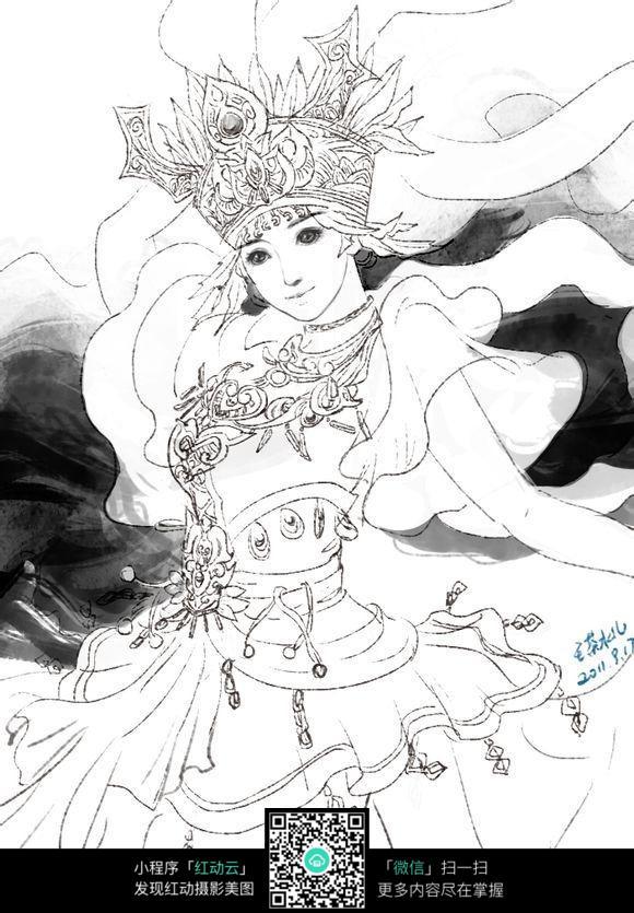 古装游戏美女仙子线描图片