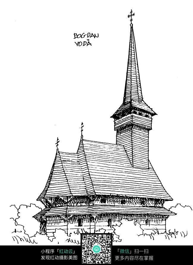 简笔画 建筑 手绘 塔 线稿 650_890 竖版 竖屏