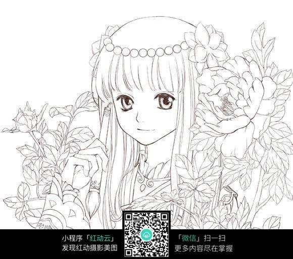 花丛中的美女_人物卡通图片