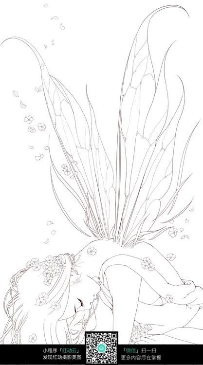 蝴蝶仙子手绘线描_人物卡通图片