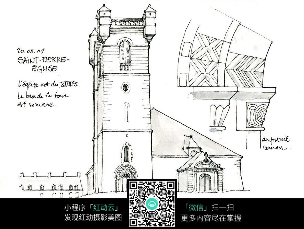 建筑物手绘线描_活动场景图片