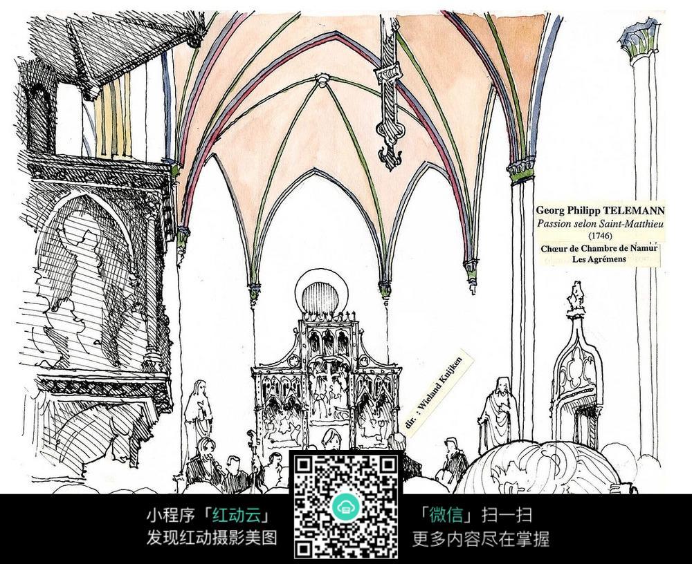 教堂吊顶手绘线稿图片