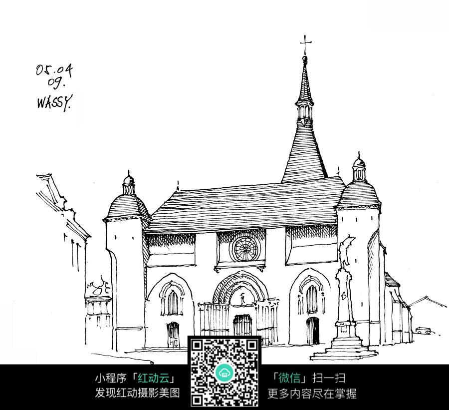 教堂建筑手绘线描