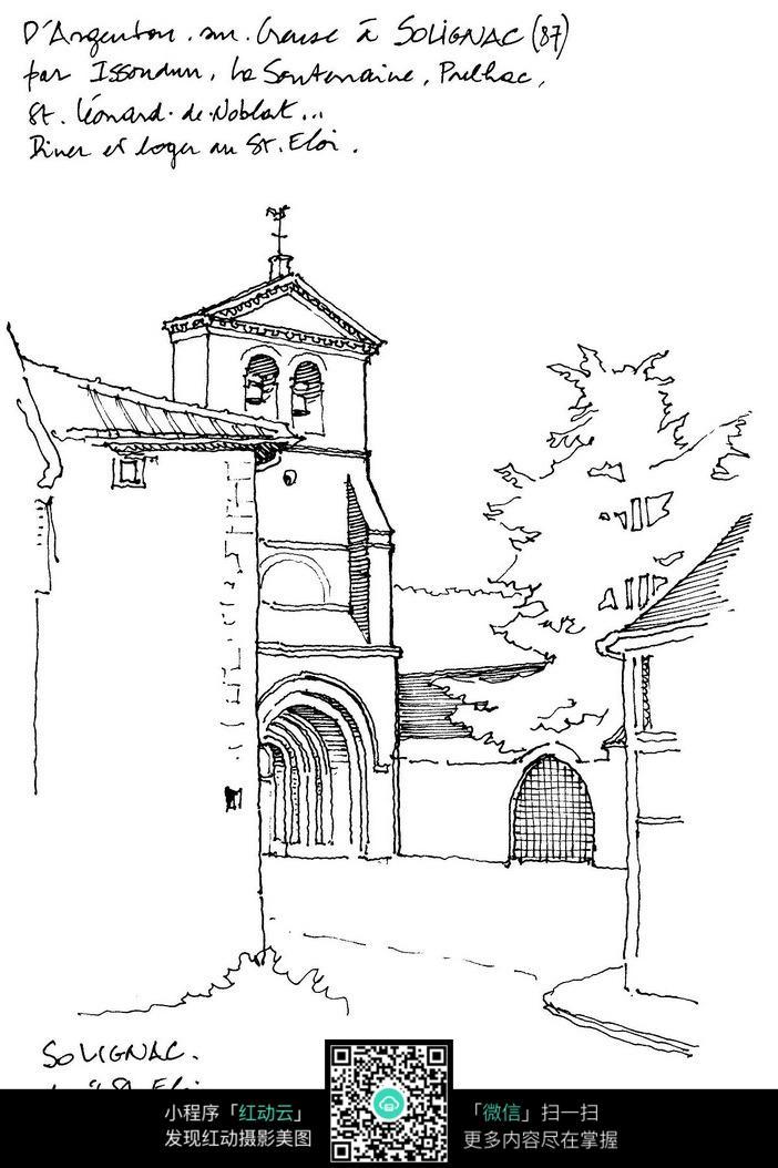 街边教堂手绘素材_活动场景图片