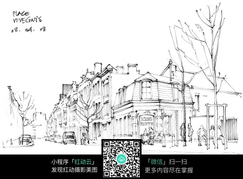 一点透视街道手绘线稿