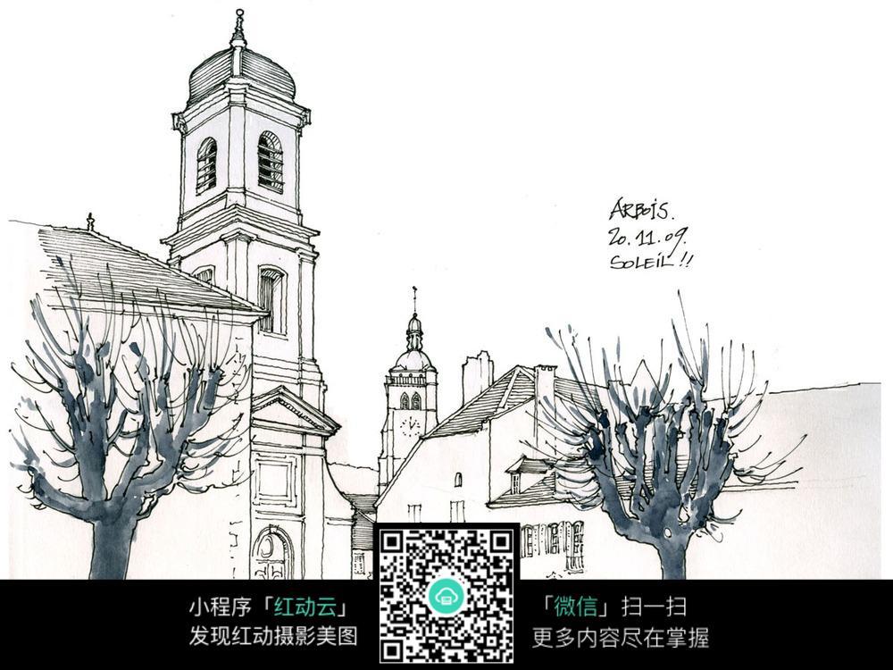 街道城市建筑手绘 活动场景图片 红动手机版图片