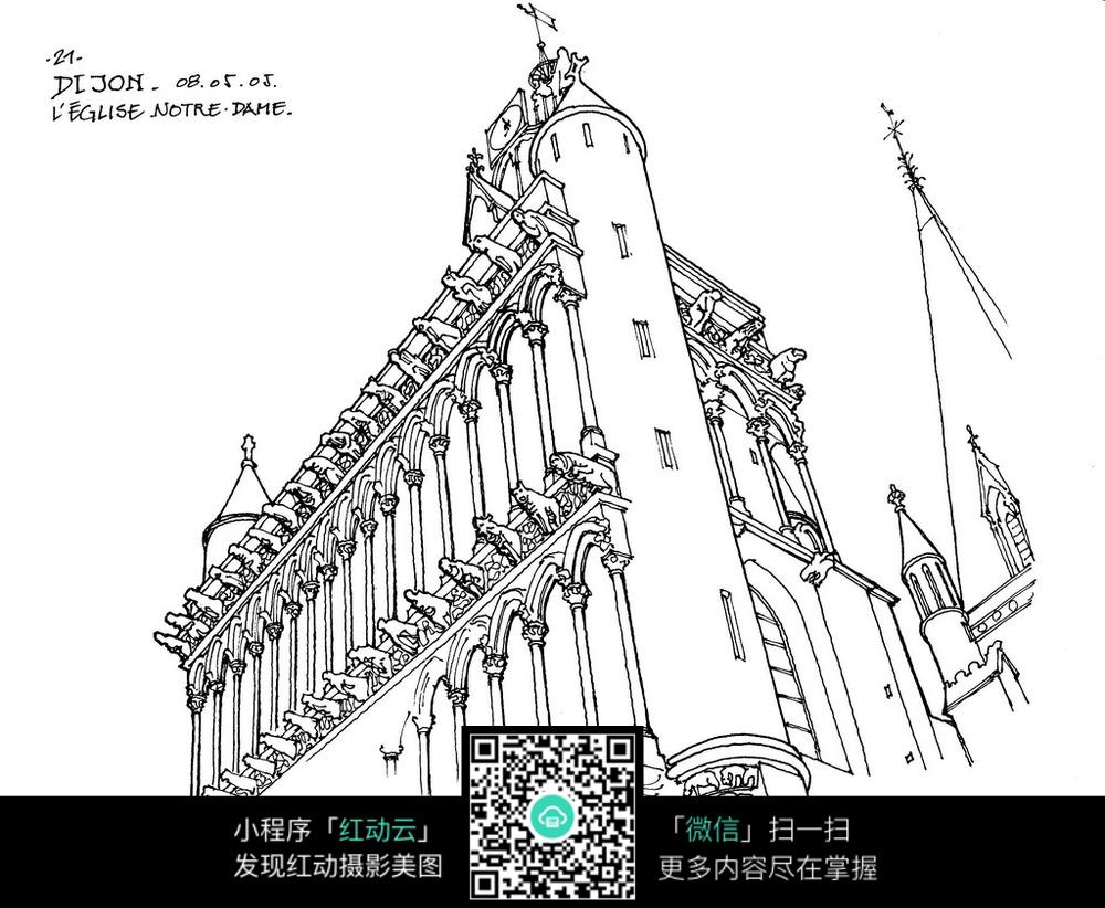 近景建筑物建筑体手绘