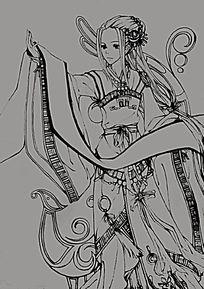 卡通古典美女线描