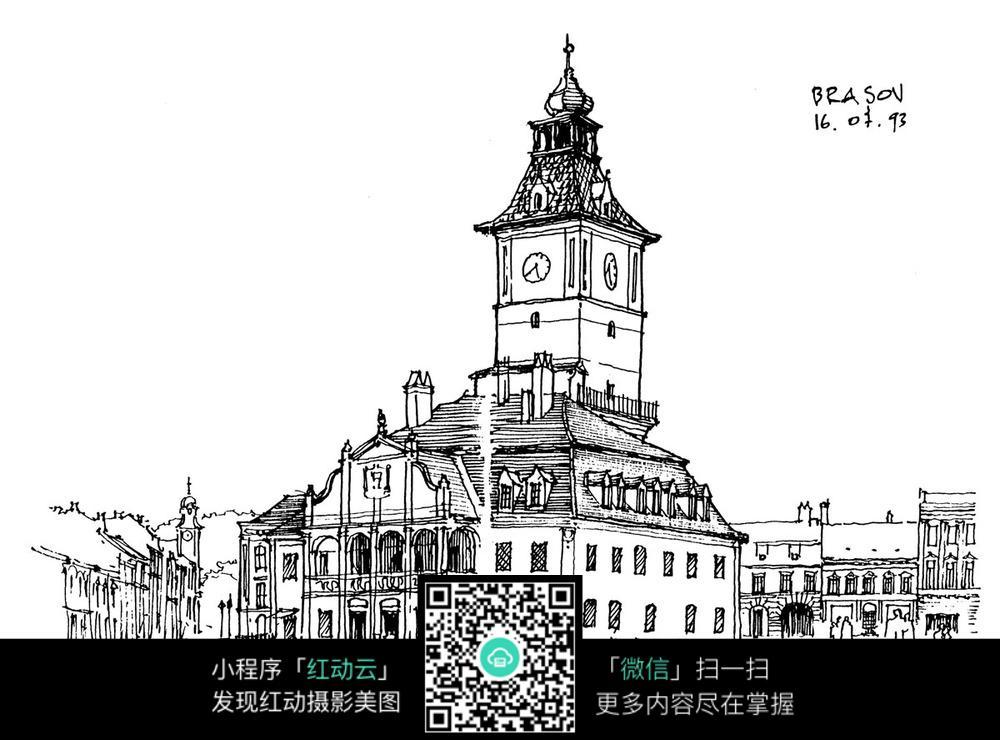 卡通钟楼建筑风格草图图片