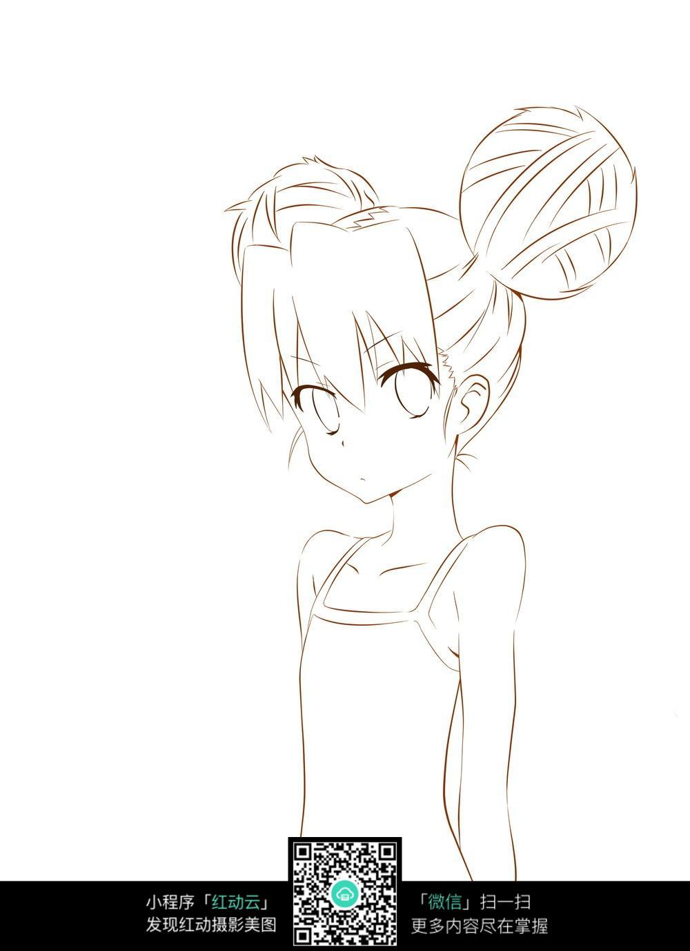 可爱丸子头的女孩