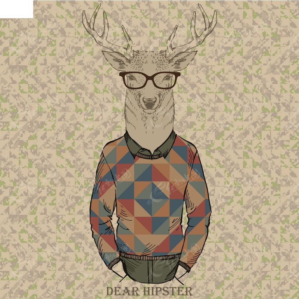 鹿头拟人手绘画