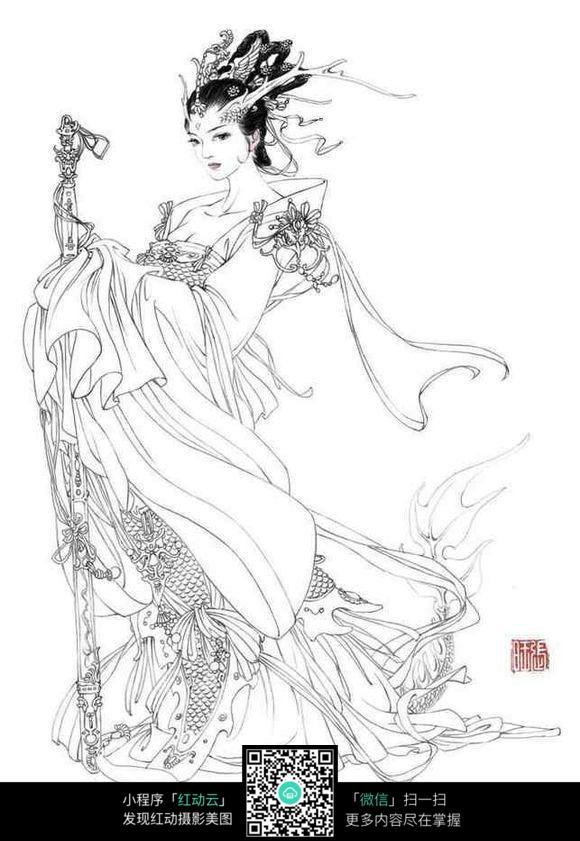 南海鲛人古典美女手绘图片
